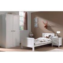 Ensemble lit 90x200cm + chevet + armoire 2 portes blanc - LAMBIS