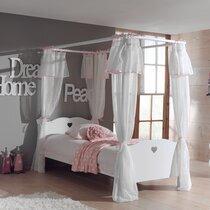 Lit à baldaquin 90x200cm + rideau coloris blanc