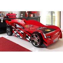 Lit voiture 229 x 111 x 60 cm coloris rouge