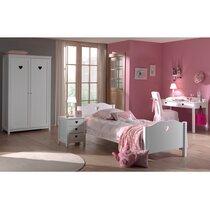 Ensemble lit 90x200 cm + chevet + armoire 2 portes  + bureau blanc