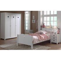 Ensemble lit 90x200cm + chevet + armoire 3 portes coloris blanc