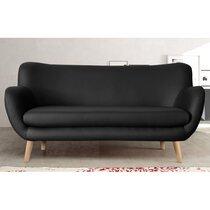 Canapé 3 places en PU noir, pieds hêtre