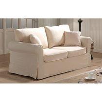 Canapé 2 places fixes en tissu écru - JAIPUR