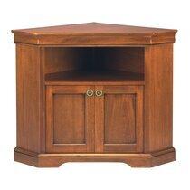 Meuble TV d'angle en bois massif 2 portes 1 niche style Louis Philippe