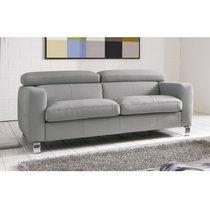 Canapé 2,5 places avec têtières réglables en PU gris