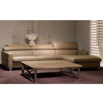 Canapé d'angle à droite avec têtières réglables en PU taupe