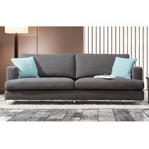 Canapé 3 places en tissu gris et pieds en métal