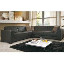 Canapé d'angle panoramique en PU chocolat et pieds en bois