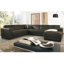 Canapé d'angle en U  en tissu chocolat et pieds en bois
