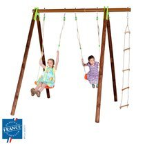 Portique bois et métal 2,30m avec balançoire, échelle pour 3 enfants