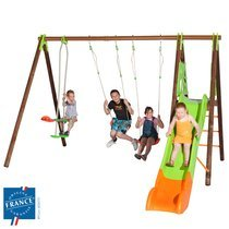 Portique 2,30 m bois et métal face à face, plate-forme pour 6 enfants
