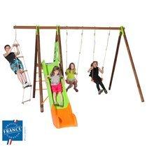 Portique 2,30m bois et métal échelle, plate-forme, toboggan pour 5 enfants