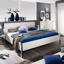 Lit 160x200 cm avec tête de lit en PU blanc