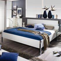 Lit 180x200 cm avec tête de lit en PU blanc