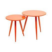 Lot de 2 tables basses en métal et MDF - orange