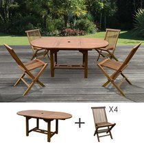 Table de jardin 120/170x100x75 + lot de 4 chaises