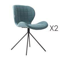 Lot de 2 chaises vintage en tissu bleu - OMG