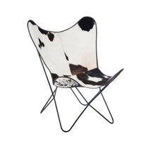 Chaise en peau de vache et métal 75x87x86cm