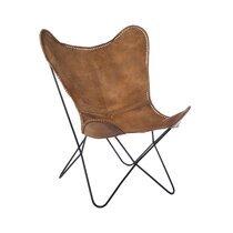 Chaise en cuir lisse cognac et métal 75x87x86cm