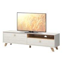 Meuble télé pieds inclinés 187x50x45cm - coloris chêne et blanc