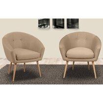 Lot de 2 fauteuils dossier arrondi en tissu ficelle - AVENTY