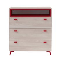 Commode 3 tiroirs 1 niche VANCOUVER - rouge