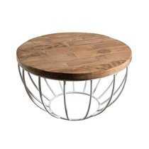 Table basse coque blanche 60x60 cm en teck recyclé - APPOLINE
