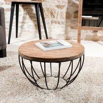 Table basse coque noire 60x60 cm en teck recyclé - APPOLINE