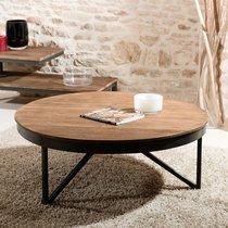 Table basse ronde 90x90 cm en teck recyclé et métal - APPOLINE