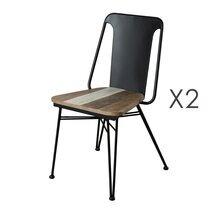 Lot de 2 chaises DANUBE - bois naturel