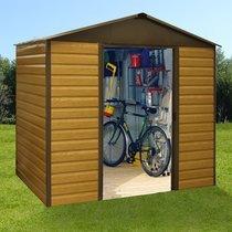 Abri de jardin en métal 11,39m² - beige et marron