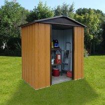 Abri de jardin métal 2,77 m² - aspect bois et marron