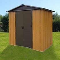 Abri de jardin métal 5,97 m² - aspect bois et marron