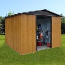Abri de jardin métal 7,18 m² - aspect bois et marron