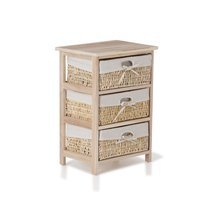 Commode 3 tiroirs naturel et toile blanche - TIDY