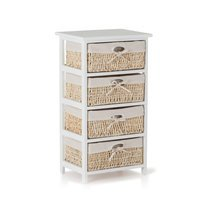 Commode 4 tiroirs  blanc et toile blanche - TIDY