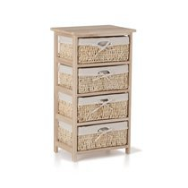 Commode 4 Tiroirs  naturel toile blanche