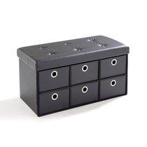 Pouf PVC avec tiroirs de rangement noir