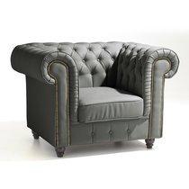 Fauteuil Chesterfield en cuir coloris gris