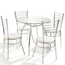 Table ronde + 4 chaises Blanc