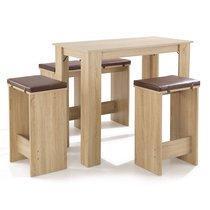 Table de bar + 4  tabourets en bois naturel coussins chocolat