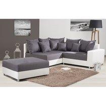Canapé d'angle à gauche + pouf convertible en PU- tissu blanc gris