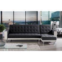 Canapé d'angle convertible et réversible PU blanc tissu noir - LEONY