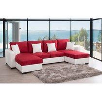 Canapé d'angle en U convertible blanc-rouge - ALMA