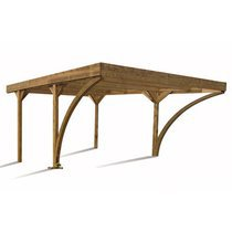 Carport 2V en pin massif 604x512cm marron - DOUBLE HAROLD