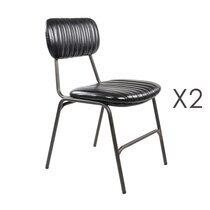 Lot de 2 chaises repas en PU noir - ALPHONSE