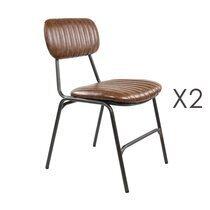 Lot de 2 chaises repas en PU marron  - ALPHONSE