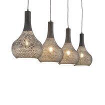 Suspension industriel 4 lampes coniques - métal gris