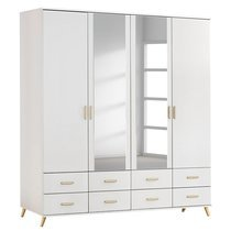 Armoire 4 portes 8 tiroirs 2 miroirs - bois naturel