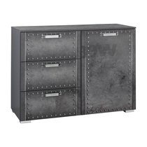 Commode 1 porte 3 tiroirs 110x81x42cm - Anthracite